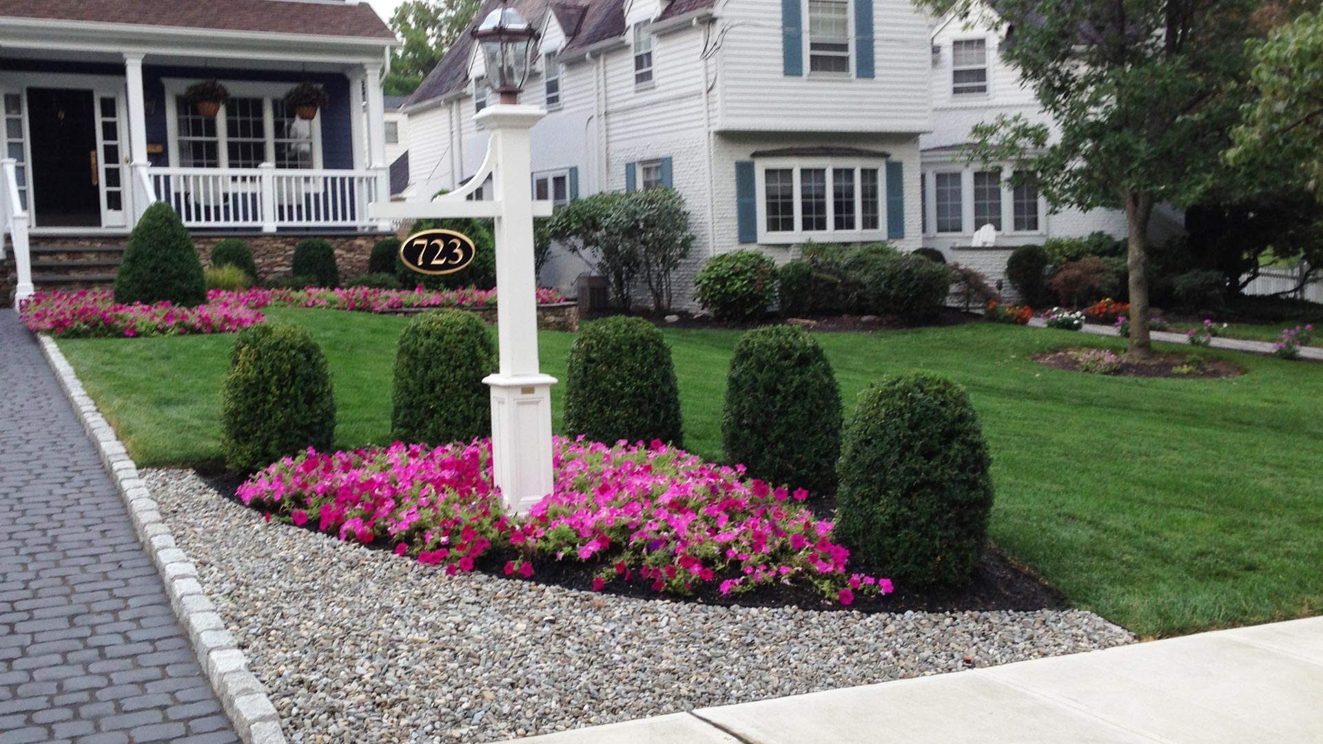 After new landscaping and lawn care at home in Warren, NJ.