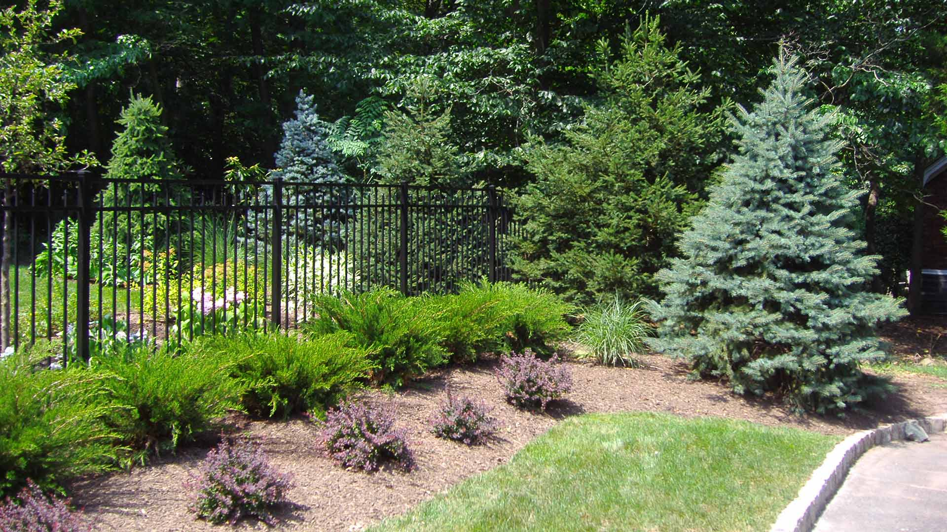 Beautiful plant bed around an iron fence on a home property in Warren, NJ.