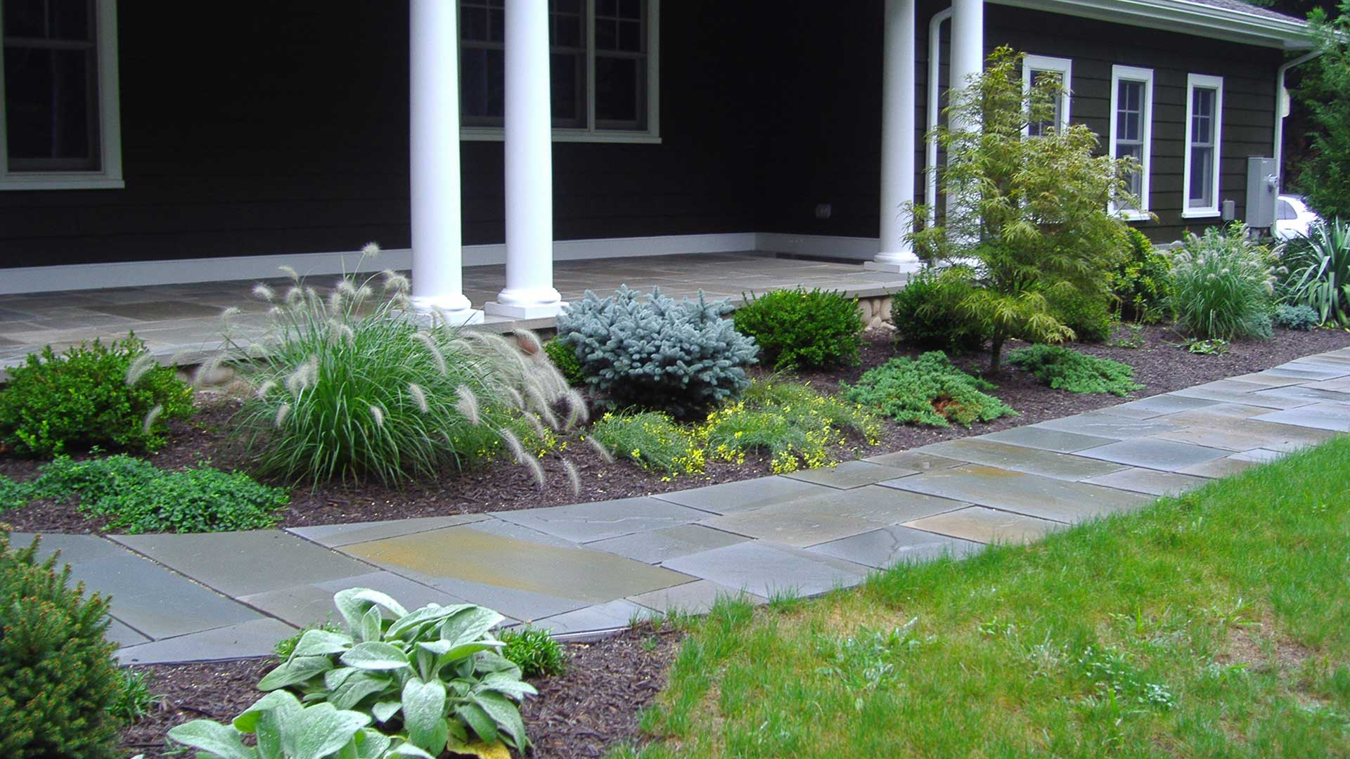 Landscape plant bed around Westfield, NJ home.